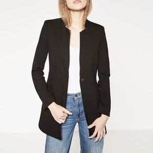 Zara Inverted Long Black Blazer Jacket XS